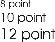 point sizes